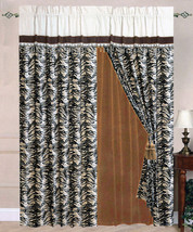 4 Pcs Micro Suede Flocking Tiger Safari Pattern Curtain Drape Lining Valance Set - $27.80