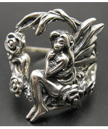 R001021 STERLING SILVER Ring Solid 925 Fairy Wings Flower Rose - $25.50