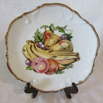"Enesco Hand Painted 8"" Fruit Plate Scalloped Edge with Gold Trim - $7.59"