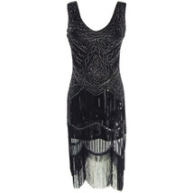 BLACK Retro Style Sleeveless Beaded Sequin Dress Tassel Short Evening Dress NWT image 5