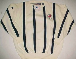 Cleveland Indians Chief Wahoo MLB AL White Blue Striped Fleece Sweatshir... - $49.49
