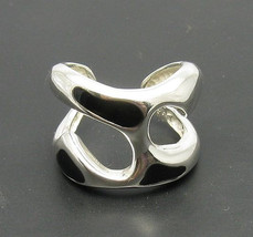 R000375 Sterling Silver Ring Solid 925 Bkack Enamel Adjustable Size - $513,31 MXN