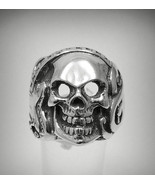 R001087 Large STERLING SILVER Biker Ring Solid 925 Skull Guitar - $45.90