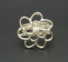 R000707 Stylish Sterling Silver Ring Solid 925 Flower - $18.60