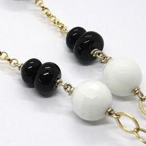 Halskette Silber 925, Gelb, Onyx,Achat Weiß, Doppel Herz, Anhänger image 5