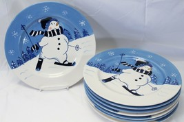 "Northcrest Home Snowman Winter Valley Skiing Dinner Plates 10.75"" Lot of... - $73.49"