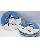 """Northcrest Home Snowman Winter Valley Skiing Dinner Plates 10.75"""" Lot of... - $73.49"""