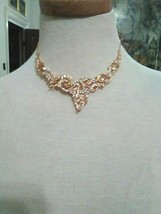 VINTAGE NECKLACE SET GOLDEN CITRINE ACCENTED DELICATE SETTING  +  EARRINGS - $145.00