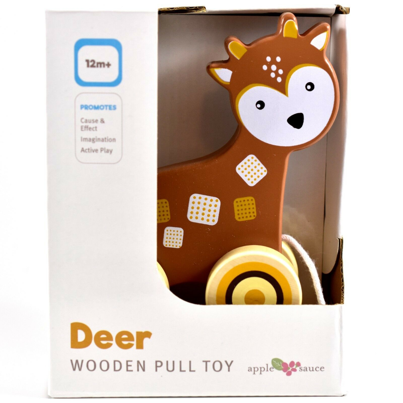 Applesauce Deer Baby Wooden Pull Toy for Toddlers Children Ages 12+ Month