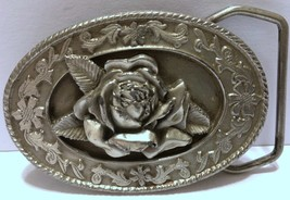 VTG Rose w/Leaves & Flowers Oval Belt Buckle 1985 Siskiyou Williams Oreg... - $42.07