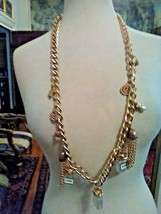 Vintage Golden Paris Chain Charms Necklace Perfume Bottle Tassels Charms Pearls - $65.00
