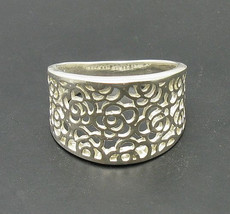 R000717 Stylish Sterling Silver Ring Solid 925 Flower Band - $15.00