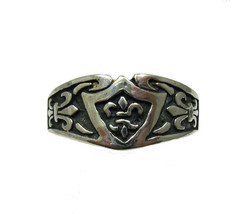 R001331 STERLING SILVER Ring Fleur de Lis Band Solid 925 - $420,50 MXN