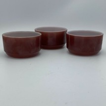 Vintage Fire King Anchor Hocking Brownstone Custard Cup Lot Of Three - $19.79