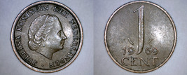 1969 Netherlands 1 Cent World Coin - Fish - $3.49