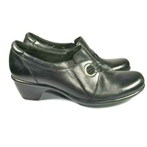 Clarks Bendables 38476 Womens Shoes Black Leather Heeled Slip on Size 7M - $38.60