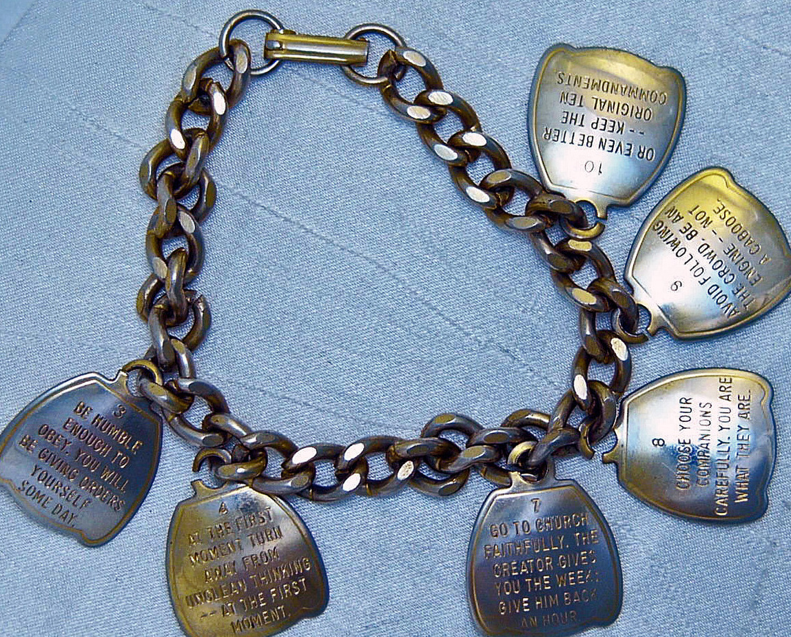 Vintage 10 Commandments Golden Charm Bracelet