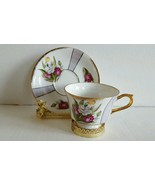 Vintage Made In Japan Tea Cup and Saucer Tulip Bouquet Gold Trim Excelle... - $14.99