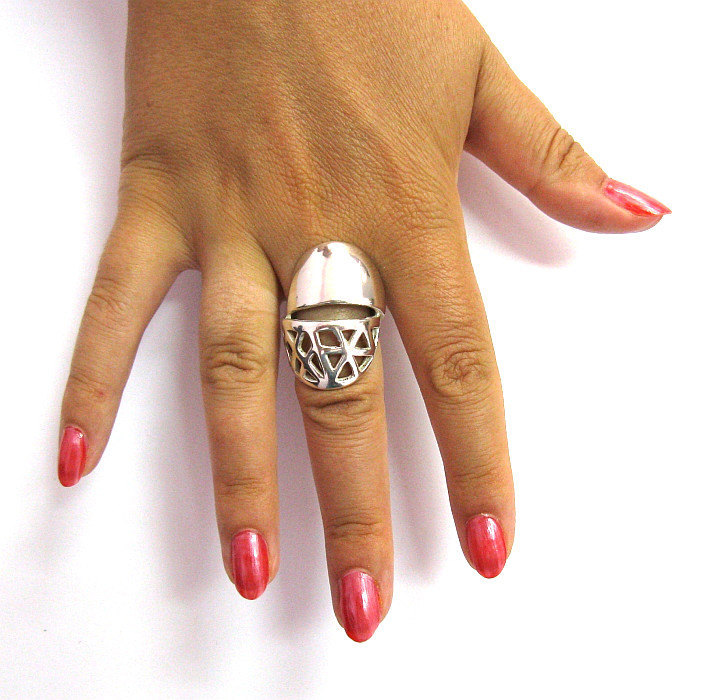 R001317 Stylish Long Heavy STERLING SILVER Ring Solid 925