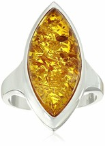 Amazon Collection Sterling Silver 925 Honey Amber Marquise Shaped Ring Size 6