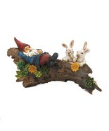 Sleeping Gnome With Bunnies Solar Statue - $48.99