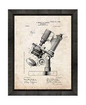 Microscope Patent Print Old Look with Beveled Wood Frame - $24.95+