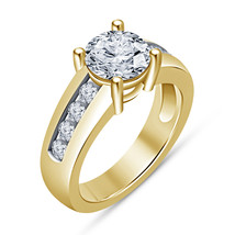 18K Yellow Gold Finish 925 Silver Lab Diamond Engagement Wedding Ring For Womens - $62.99
