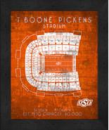 "Oklahoma State T. Boone Pickens""Retro"" Stadium Seating Chart 13x16 Frame... - $39.95"