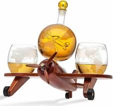 Godinger Decanter Airplane Globe Set with 2 World Whiskey Glasses - $118.00
