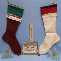 Hand Made Christmas Stocking Avon Candle Holder  Book Of Traditions Lot ... - $15.04