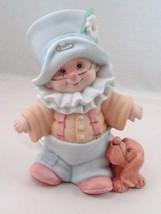 1991 Porcelain Bisque Enesco Little Boy Clown & Puppy Child's Night Light Lamp - $17.77