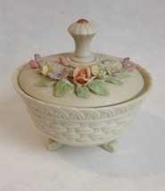 Lefton Hand Painted Candy Bowl Covered Trinket Jewelry Box Antique Ivory... - $34.00