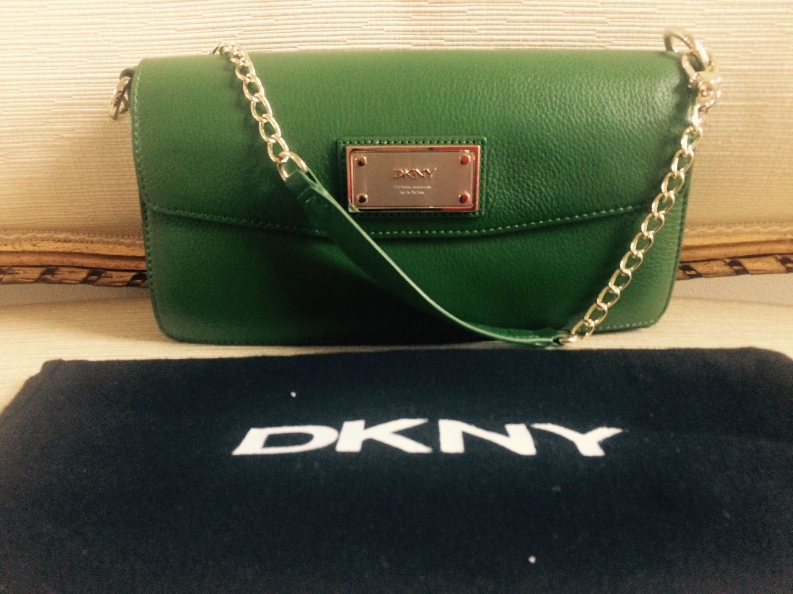 DKNY Green Leather Chain Shoulder Flap Bag
