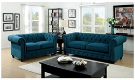 Frankfurt 2 Pieces Traditional Style Sofa Set Upholstered in Dark Teal F... - $1,596.00
