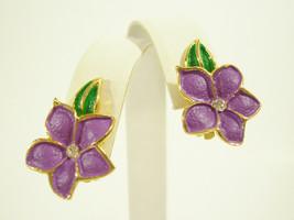 PURPLE FLOWER Enamel Rhinestone Clip Earrings Gold Plated Lavender Offic... - $13.85
