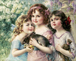 Three Graces by Emile Vernon 3 Little Girls Bunny Rabbit 24x30 Canvas Giclee - $246.51