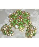 Vintage Crown Trifari Set Aurora Green Navette Rhinestone Brooch & Earri... - $99.95