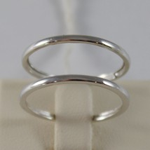 SOLID 18K WHITE GOLD BAND DOUBLE MULTI WIRES RING LUMINOUS SMOOTH, MADE IN ITALY image 1