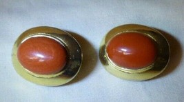 Beautiful Pair Vintage Dotty Smith Clip-on Earrings Burnt Umber Ovals Go... - $20.00