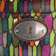 Fossil Calypso Key Per ZB5125 Multi Color Feather Print Coated Canvas Tote Bag image 3