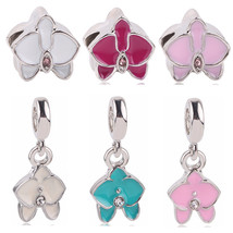 Couqcy New Silver Color Beads Charm Pink Flower Enamel For Pandora Origi... - $16.19