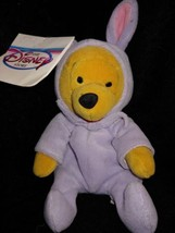 "1999 The Disney Store 8"" Easter Bunny Winnie the Pooh Bean Bag Beanie Plush Toy - $9.90"