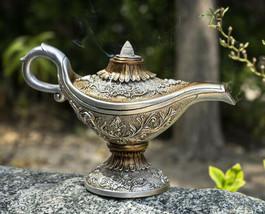 Floral Ornate Aladdin Genie Magical Lamp Backflow Incense Cone Burner Fi... - $29.99