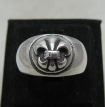 R001193 STERLING SILVER Ring Solid 925 Fleur de lys - $24.00