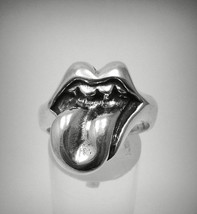 R001247 STERLING SILVER Ring Solid 925 Mouth Stick Out - $724,68 MXN