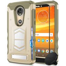 Motorola E5 Plus Desert Tan Armor Hybrid Case w/ Magnet Holder Tempered ... - $19.99
