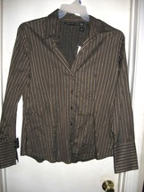 New York & Company Black Brown Metallic Gold Striped Long Sleeve Top Shi... - $19.59