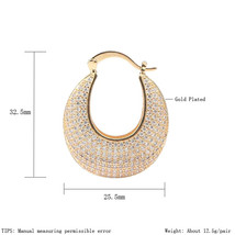 Luxury Hoop Earrings White Cubic Zirconia Micro Pave Gold Color Wedding ... - $15.66