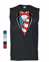 American Flag Tuxedo Muscle Shirt Funny 4th of July Stars and Stripes Sleeveless - $11.02+