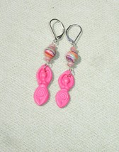 Wiccan Pink Spiral Goddess and Gemstone Dangle Earrings with Leverbacks - $16.99
